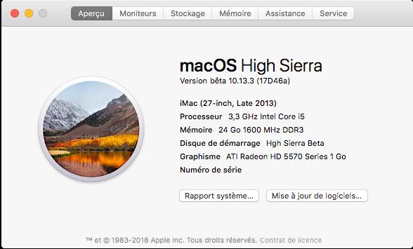 Beta macOS High Sierra Beta 10.13 1 (17B46a) a 10.13.2 Beta et +++ Captu262