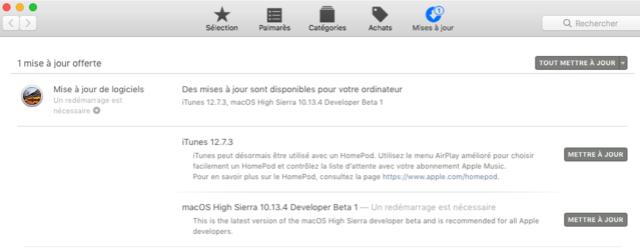 Beta macOS High Sierra Beta 10.13 1 (17B46a) a 10.13.2 Beta et +++ Captu281