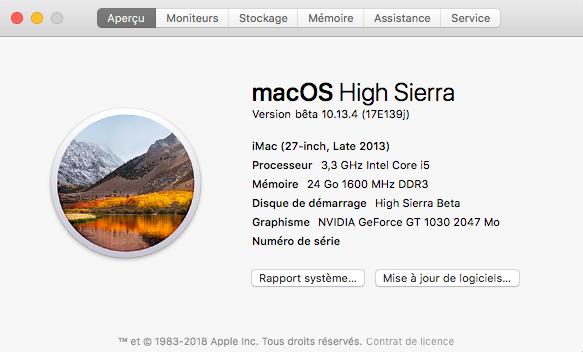 Beta macOS High Sierra Beta 10.13 1 (17B46a) a 10.13.2 Beta et +++ Captu285