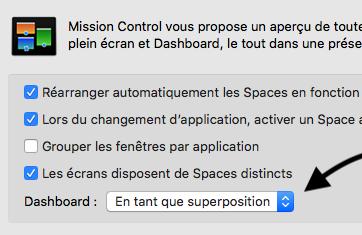 Accéder  a vos Widget de votre Desktop dans macOS High Sierra Captu353