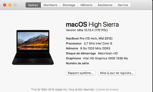 Beta macOS High Sierra Beta 10.13 1 (17B46a) a 10.13.2 Beta et +++ - Page 2 Captu368