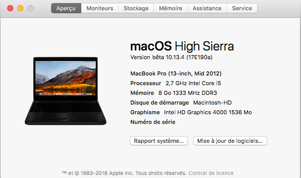 Beta macOS High Sierra Beta 10.13 1 (17B46a) a 10.13.2 Beta et +++ - Page 2 Captu401