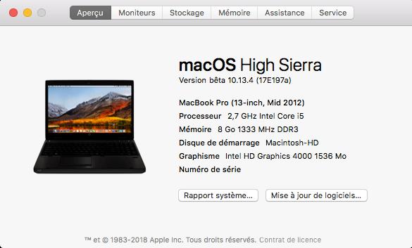 Beta macOS High Sierra Beta 10.13 1 (17B46a) a 10.13.2 Beta et +++ - Page 2 Captu424