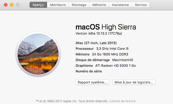 Beta macOS High Sierra Beta 10.13 1 (17B46a) a 10.13.2 Beta et +++ Captur89