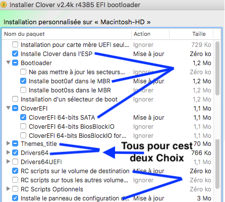 Choisir les Options pour Clover V2.4k Legacy10