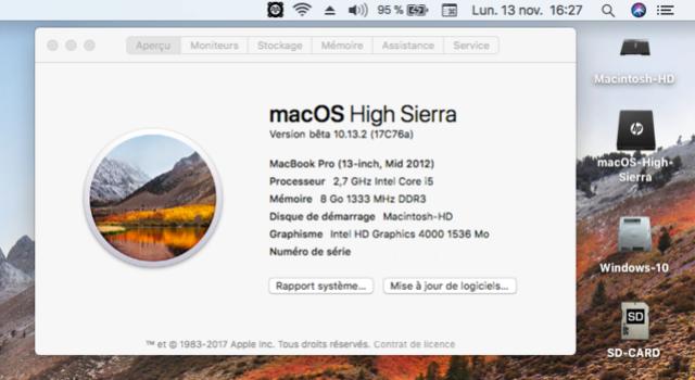 Beta macOS High Sierra Beta 10.13 1 (17B46a) a 10.13.2 Beta et +++ Sans_t42
