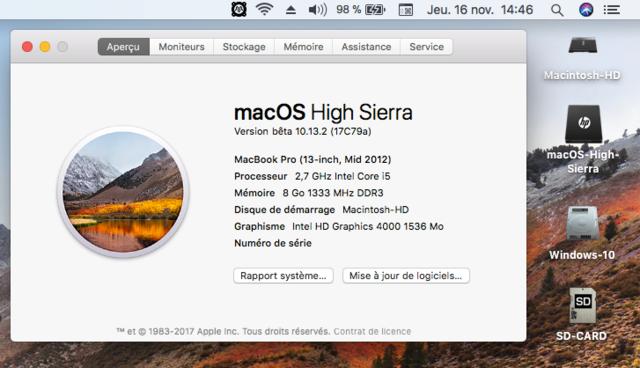 Beta macOS High Sierra Beta 10.13 1 (17B46a) a 10.13.2 Beta et +++ Sans_t44