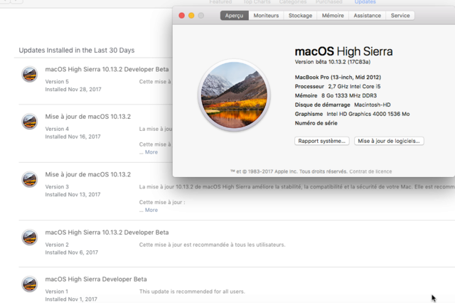 Beta macOS High Sierra Beta 10.13 1 (17B46a) a 10.13.2 Beta et +++ Sans_t54