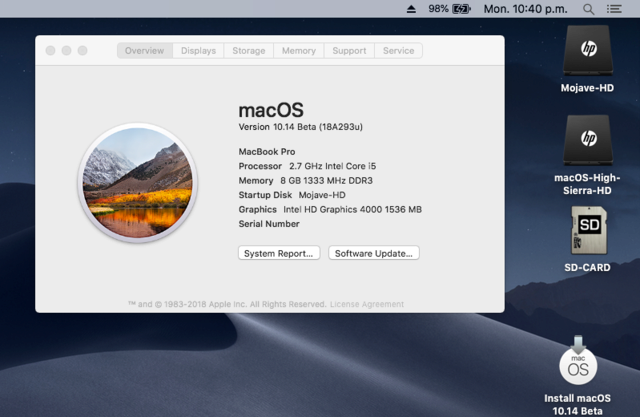 macOS Mojave 10.14 .Beta (Beta1, 2, 3, 4, 5, 6 . . .) Untitl21
