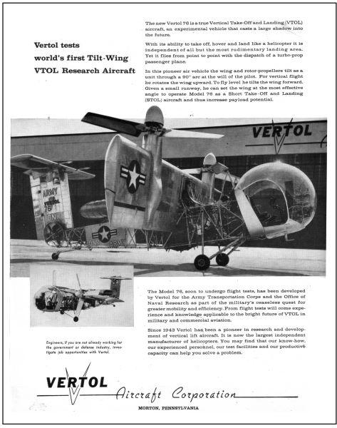 Avions 1950's, futuristes et vaisseaux spaciaux - Vintage Spaceships, Starships and futuristic planes.  Vertol10