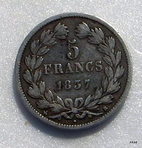 5 Francs du 2e type de Domard 1837 B, Louis philippe I ... Img_3417