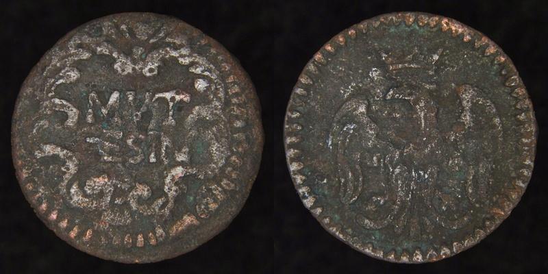 """Petite pièce de cuivre, avec aigle et la légende de """"MUT SESIN"""", sans date. S-l16010"""