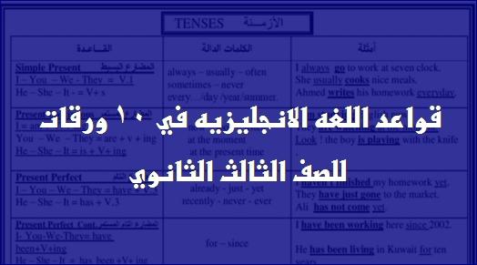 مراجعة قواعد اللغه الانجليزيه للثانوية العامة في 10 ورقات 01165