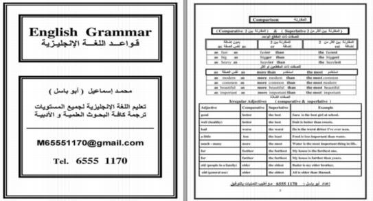 مراجعة قواعد اللغة الانجليزية في 14 ورقة لجميع المراحل 0142