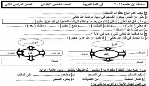 مذكرة ابن عاصم في اللغة العربية للخامس الابتدائي الترم الثاني 2018.. تحفة 0232