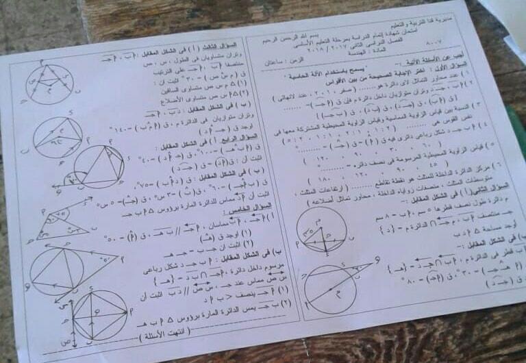 امتحان الهندسة للصف الثالث الاعدادى الترم الثانى 2018 محافظة قنا 11062