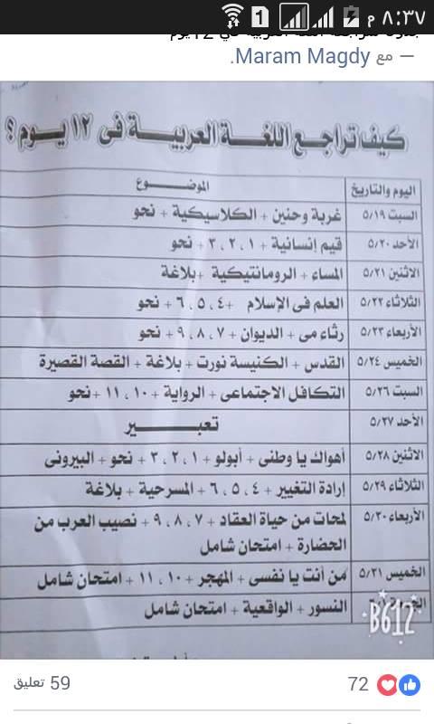 مراجعة اللغة العربية للصف الثالث الثانوي في 12 يوم 11091