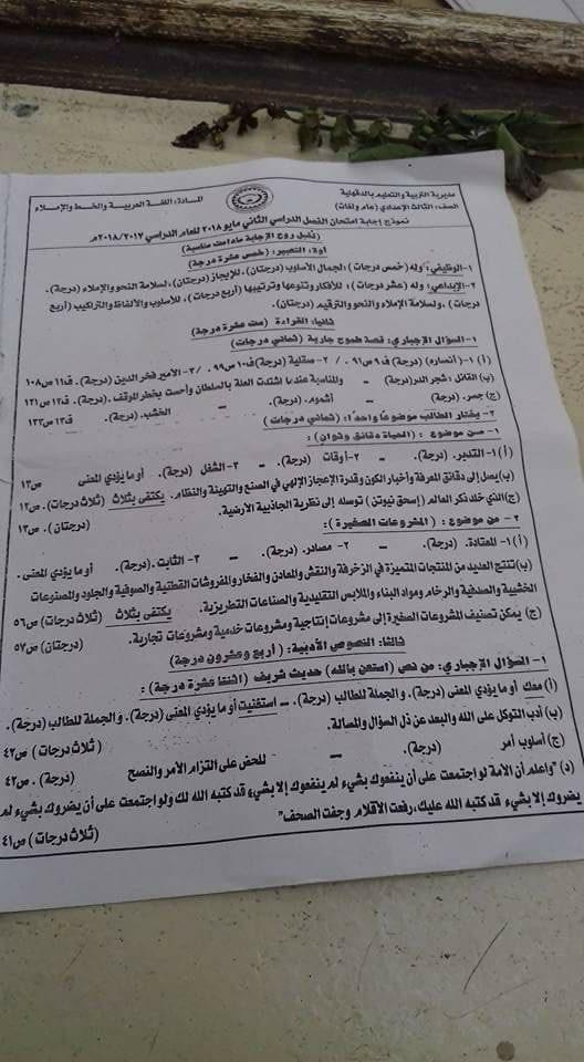 نموذج الإجابة الرسمي لامتحان اللغة العربية للصف الثالث الاعدادى الترم الثاني 2018 محافظة الدقهلية 11097