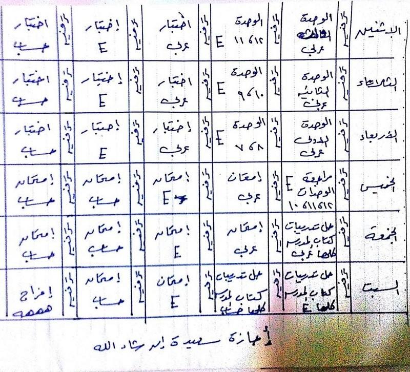 جدول مذاكرة اخر اسبوع قبل الامتحان - للثالث الابتدائي 111110