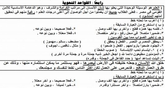 هام وعاجل : مراجعة ابن عاصم في اللغة العربية الفصل الدراسي الأول الصف الأول الإعدادي 2019 1174