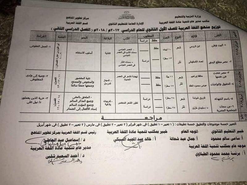 توزيع منهج اللغة العربية للصف الاول الثانوي الترم الثاني 2018 1578