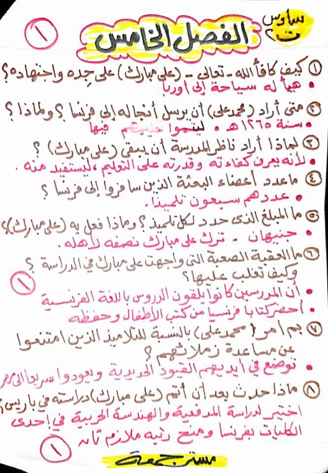 مراجعة الفصل الخامس من قصة على مبارك للصف السادس مستر جمعة قرنى 1593