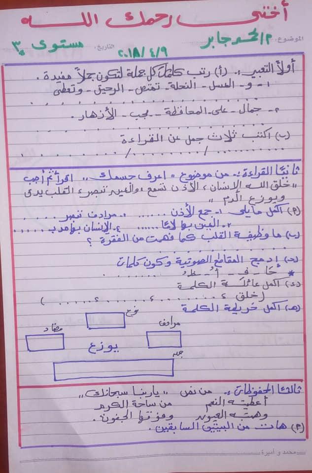 امتحان اللغة العربية تانية ابتدائي ترم ثاني (مستوى 3) 1729