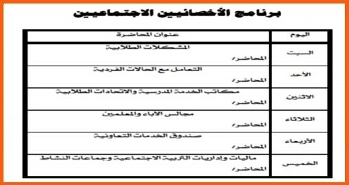 البرنامج التدريبي للاخصائيين الإجتماعيين 2018 178