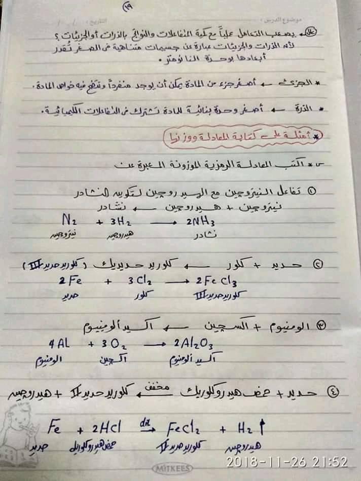ملخص كيمياء اولى ثانوي في ورقات فقط أ/ محمد السباعي 19105