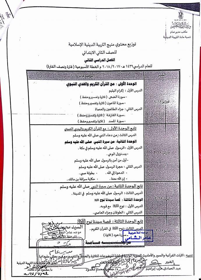 توزيع مناهج التربية الاسلامية للصفوف الابتدائية الفصل الدراسي الثاني 2018 2-211