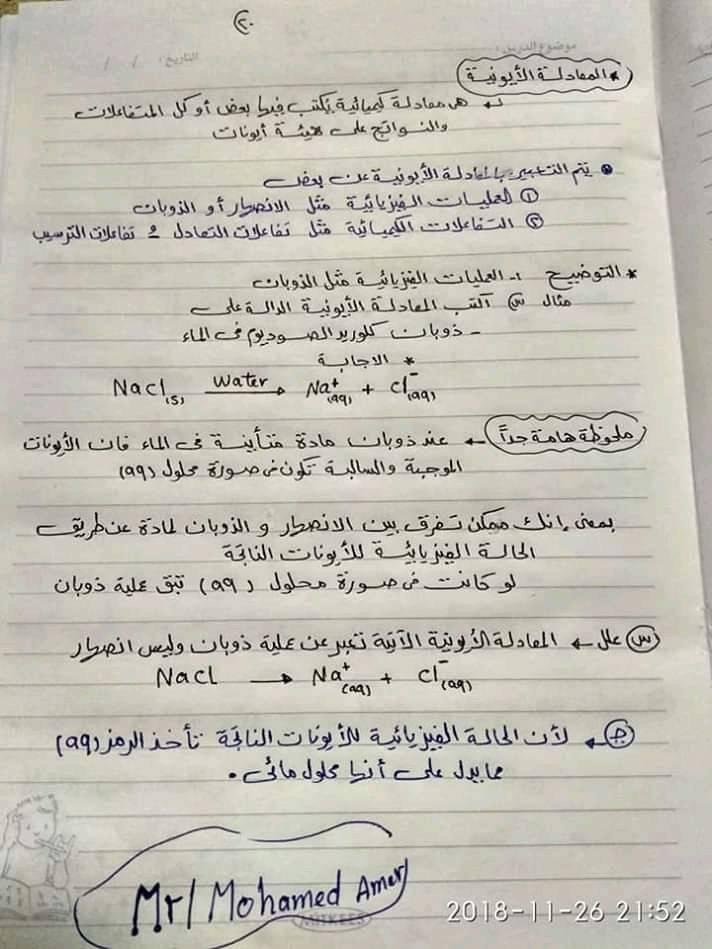 ملخص كيمياء اولى ثانوي في ورقات فقط أ/ محمد السباعي 2024