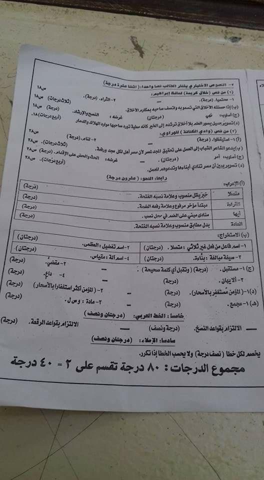نموذج الإجابة الرسمي لامتحان اللغة العربية للصف الثالث الاعدادى الترم الثاني 2018 محافظة الدقهلية 21001