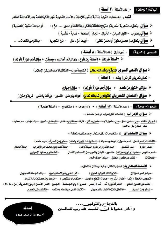 أهم توقعات امتحان اللغة العربية للثانوية العامة أ/ سلامة الزميلي 21025