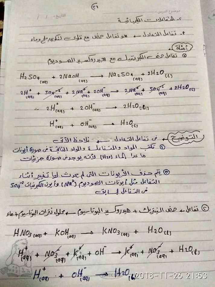 ملخص كيمياء اولى ثانوي في ورقات فقط أ/ محمد السباعي 21154