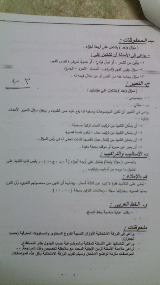 مواصفات الورقة الامتحانية في اللغة العربية لجميع المراحل 2018 وبعض نماذج الأسئلة 2199