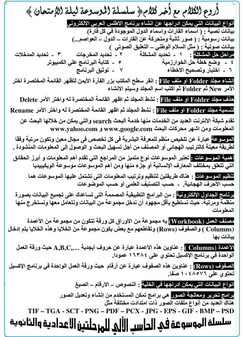 مراجعة الحاسب الالى للصف الاول الثانوي الترم الاول فى ورقتين مستر احمد الزيدي 22102
