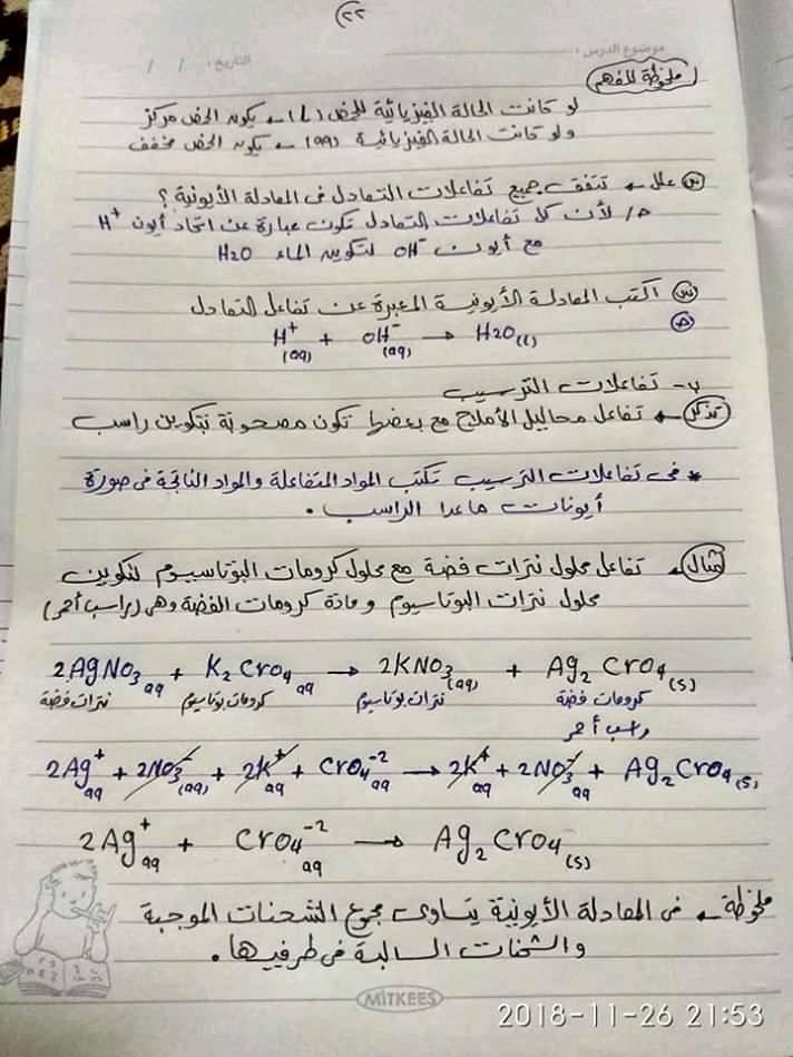 ملخص كيمياء اولى ثانوي في ورقات فقط أ/ محمد السباعي 22139