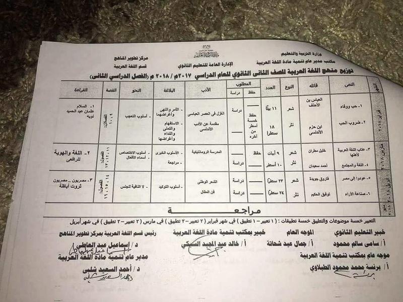 توزيع منهج اللغة العربية للثاني الثانوي الترم الثاني 2018 2497