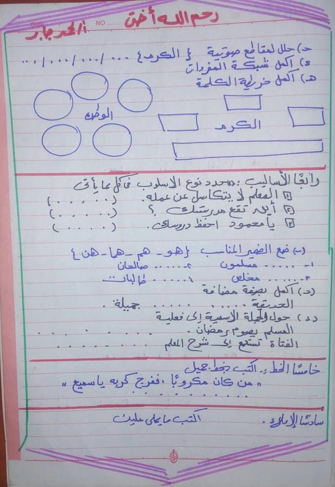 نموذج امتحان اللغة العربية للصف الثاني الابتدائي الترم الثاني ٢٠١٨ 2640