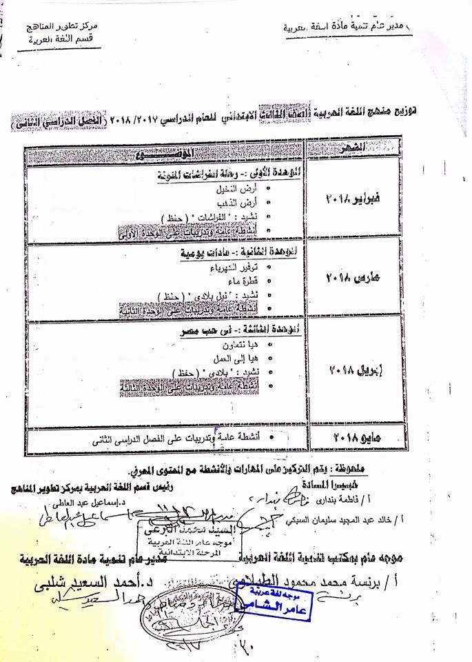 توزيع مناهج اللغة العربية للصفوف الابتدائية الفصل الدراسي الثاني 2018 3-211