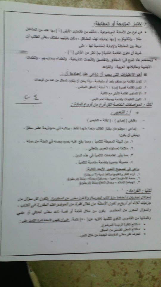 مواصفات الورقة الامتحانية في اللغة العربية لجميع المراحل 2018 وبعض نماذج الأسئلة 3134