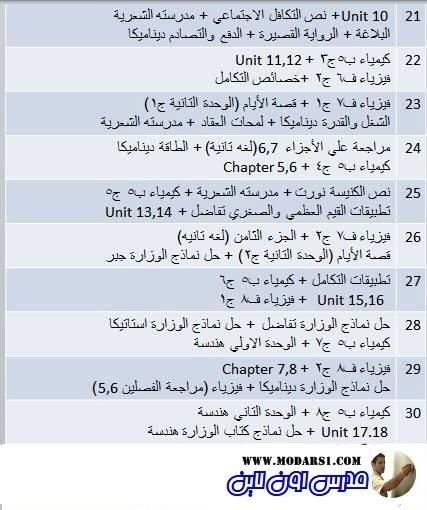 جدول مراجعة المنهج كله للثانوية العامة في 30 يوم فقط + اهم النصائح 3375