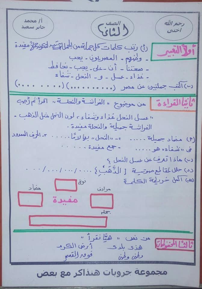 مراجعة لغة عربية + الإملاء للصف الثاني الابتدائي ترم ثاني 3487