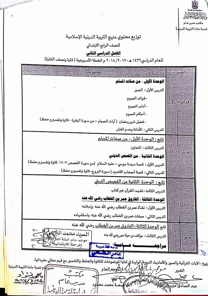 توزيع مناهج التربية الاسلامية للصفوف الابتدائية الفصل الدراسي الثاني 2018 4-211