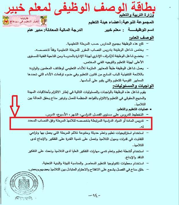 بالمستندات.. عدم قانونية تحميل المعلم فوق نصابه القانوني من الحصص او إلغاء الاشراف الفني على المادة 415