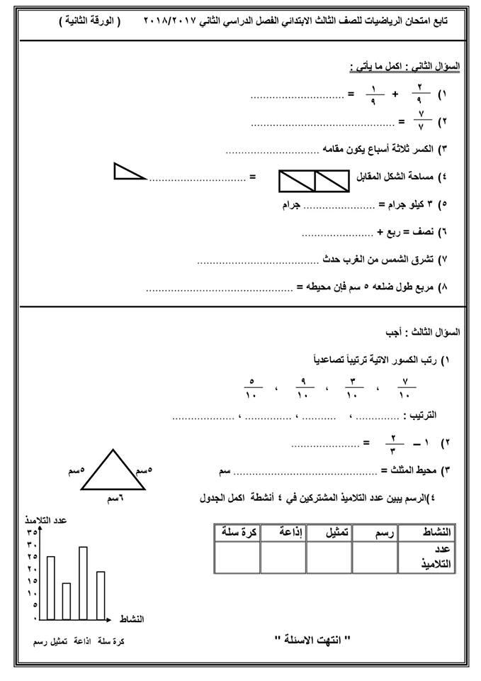 نماذج امتحانات الترم الثاني 2018 للصف الثالث الابتدائي في كل المواد 4537