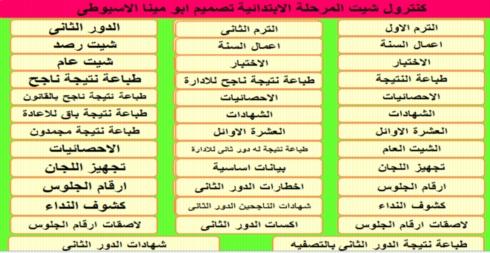 كنترول شيت أبو مينا الاسيوطى للمرحلة الابتدائيه حسب القرار377 لسنة 2017  شامل الدورين معا  484