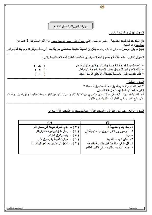 مذكرة اجابات تدريبات كتاب قصة السيدة خديجة للصف السادس الترم الثانى 4_00110