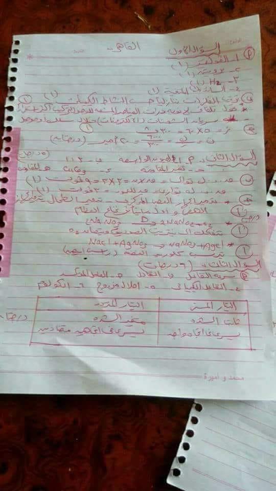 اجابة امتحان العلوم للصف الثالث الاعدادى الترم الثانى 2018 محافظة القاهرة 5574