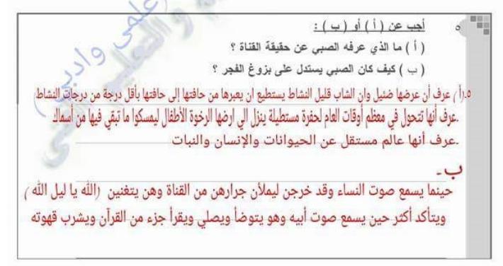اجابة بوكليت الوزارة الثالث في اللغة العربية للصف الثالث الثانوي فيديو و pdf 6374
